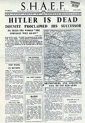 Reproduktion: Titelblatt der englischen Fallschirmausgabe des SHAEF vom 02.05.1945