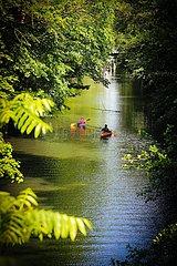 Paddler in idyllischer Natur auf dem Isebekkanal