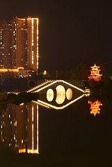 CHINA-GUIZHOU-Huishui-lianjiang RIVER-NACHTLANDSCHAFT (CN)