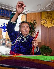 CHINA-INNER MONGOLIA-ALXA gestickter Thangka (CN)