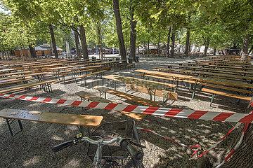geschlossener Biergarten  Hirschgarten  Muenchen  Mai 2020