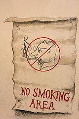 Krakau  Polen  Hinweis auf eine Nichtraucherzone