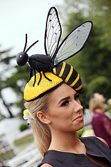 Royal Ascot  Fashion  woman with bee-hat at the racecourse