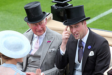 Royal Ascot  Prince Charles and Prince William  Duke of Cambridge arriving at the parade ring