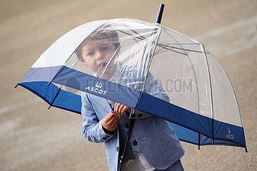 Royal Ascot  Little boy at the racecourse under his umbrella