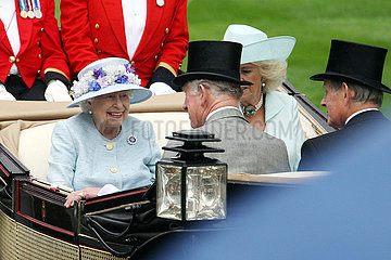 Royal Ascot  Queen Elizabeth the Second and Camilla  Duchess of Cornwall  arriving at the racecourse