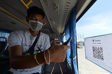 THAILAND-BANGKOK-COVID-19-BUS-QR CODE