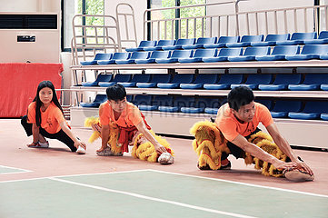 (FOCUS) CHINA-GUANGXI-TENGXIAN-LION DANCE LEARNERS (CN)