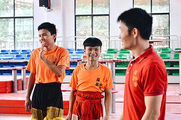 (FOCUS) CHINA-GUANGXI-Tengxian-LION DANCE LERNENDEN (CN)