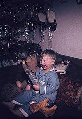 Junge mit Geschenk unter dem Weihnachtsbaum
