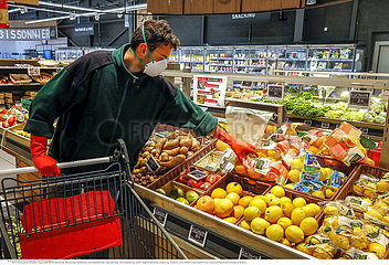 Supermarket in Eure  France during the 2020 coronavirus epidemic