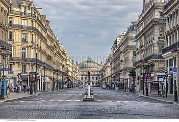 Empty Opera Avenue  Paris  Europe  France  during confinement