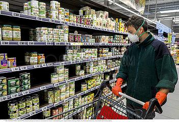 Supermarket in Eure  France during the 2020 coronavirus epidemic