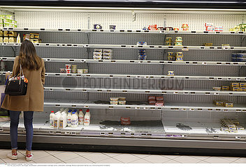 Supermarket in Bernay  Eure  France during COVID-19 epidemic