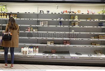 Supermarket empty during coronavirus pandemic COVID-19