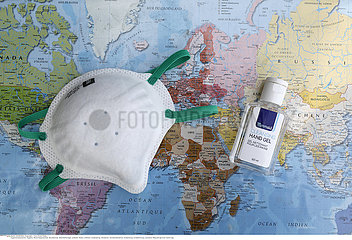 Map and gel over world map