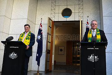 AUSTRALIEN-CANBERRA-PM-COVID-19-PRESSEKONFERENZ