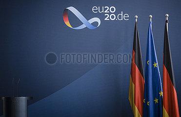 Pressewand zur deutsche EU-Ratspraesidentschaft