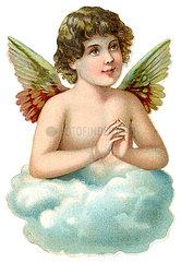 Engelchen auf Wolke betet  Poesiebild  1898