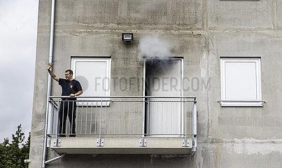Feuerwehr beim Training eines Einsatzes
