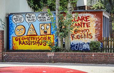 Graffiti gegen Rassismus  Oberhausen  Ruhrgebiet  Nordrhein-Westfalen  Deutschland