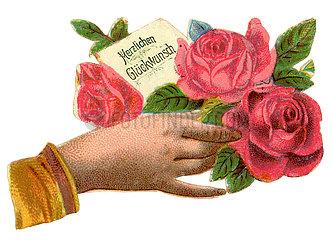 Herzlichen Glueckwunsch  Hand mit Rose  Poesiebild  1900