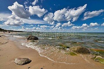 Ostseestrand mit Schoenwetterwolken