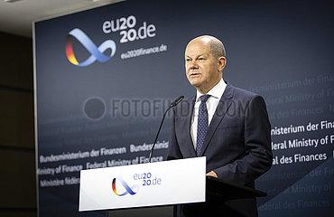 Doorstep zum ECOFIN Rat mit Bundesfinanzminister Olaf Scholz