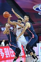 (SP)CHINA-QINGDAO-BASKETBALL-CBA LEAGUE-SHANGHAI VS GUANGDONG (CN)