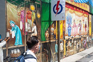 Singapur  Republik Singapur  Wahlplakat der amtierenden Regierungspartei PAP in Chinatown