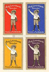 Werbung fuer Tintenfabrik Leonhardi  Dresden  1909