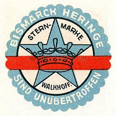 Werbung fuer Bismarck-Heringe der Firma Walkhoff  Hamburg  1913