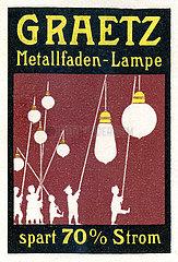 Graetz Metallfaden-Lampe  Werbemarke  1913