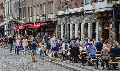 Altstadt Duesseldorf in Zeiten der Coronapandemie  Duesseldorf  Nordrhein-Westfalen  Deutschland