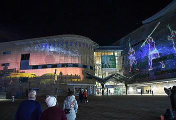 NEUSEELAND-WELLINGTON-MAORI- NEW YEAR-LIGHT SHOW