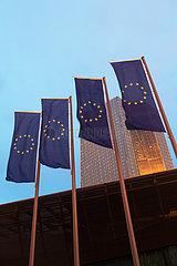 Deutschland  Frankfurt am Main - EU-Flaggen vor der Europaeischen Zentralbank (EZB)