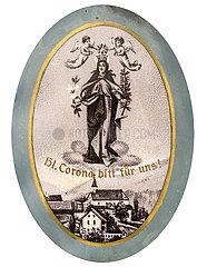 Heilige Corona  Heiligenbild  Medaillon  1912