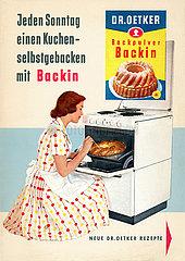 Werbung fuer Dr. Oetker Backin Backpulver  1958