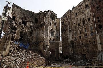 JEMEN-SANAA-HISTORISCHES GEBÄUDE-SCHADEN