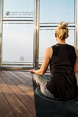The highest yoga class has taken place in the World's tallest building-Burj Khalifa in Dubai