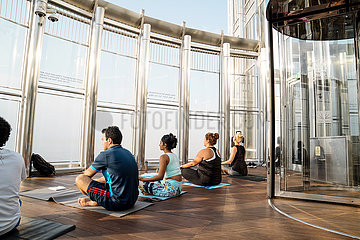The highest yoga class has taken place in the World's tallest building-Burj Khalifa in Dubai
