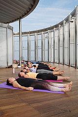 Highest yoga class is taken place in the World's tallest building-Burj Khalifa in Dubai