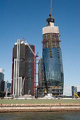 Sydney  Australien  Baustelle und neue Wolkenkratzer in Barangaroo am Darling Harbour