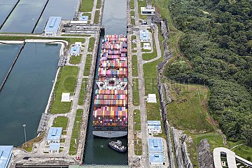 Neo-Panamax container ship crossing the third set of locks