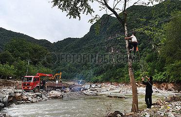 CHINA-SHAANXI-Luonan-FLASH FLOOD-RESCUE & Hilfsaktionen (CN)