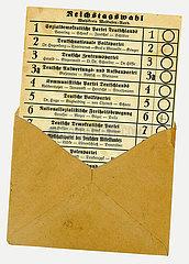 Stimmzettel zur Reichstagswahl 1924