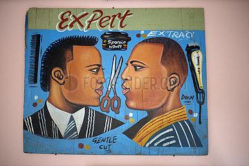 Werbung eines Friseurs