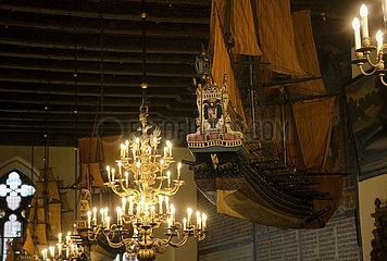 Deutschland  Bremen - Obere Halle des Bremer Rathauses (auf der UNESCO-Welterbeliste)  Backsteingotik 15. Jh.  Schiffsmodelle 17. Jh.