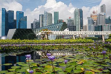 Singapur  Republik Singapur  Stadtansicht mit Wolkenkratzern des Geschaeftsviertels in Marina Bay waehrend Covid-19