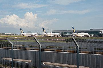 Singapur  Republik Singapur  Stillgelegte A380 Passagierflugzeuge der Singapore Airlines am Flughafen Changi